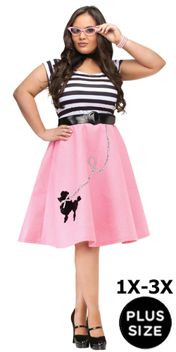 1X-3X Plus Size Pink Poodle Skirt