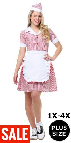Plus Size Fifties Waitress Soda Pop Diner Dress