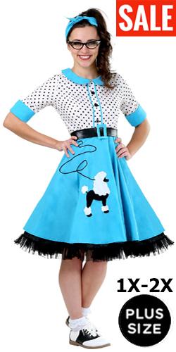 1950s Plus Size Blue Poodle Skirt