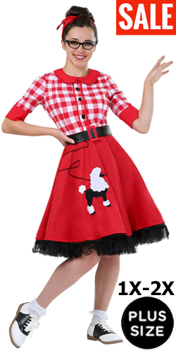 Red 1950s Plus Size Poodle Skirt for Full Figured Women